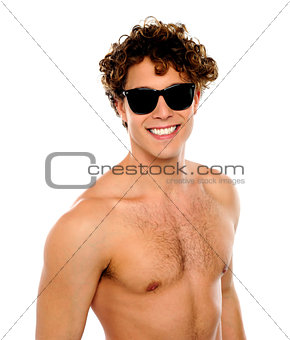 Shirtless guy with sunglasses, closeup