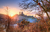 Corfe Castle Winter sunrise.