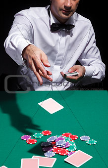 Gentleman in white shirt, playing cards