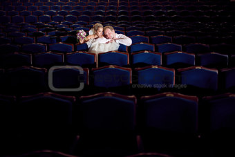 bride and groom at the theatre