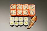 Japanese seafood sushi , roll set