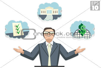 Business Man Juggling Ideas