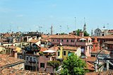Cityscape with roofs in Venice.
