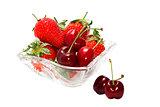 Beautiful strawberries isolated on white background.