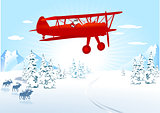 Santa Claus in Airplane