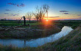 Sunset on the River Little Sister. Moscow region. Russia