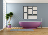 Blue bathroom with purple bathtub