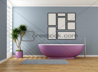 Blue bathroom with purple bathtub