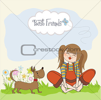 romantic girl sitting barefoot in the grass with her cute dog