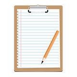 Clipboard with blank paper and pensil