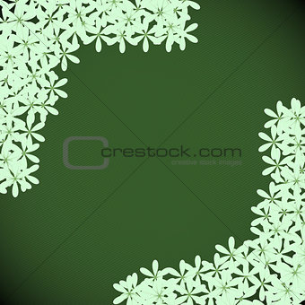 Green floral with dark green background
