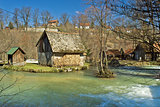 Korana river old wooden cottage