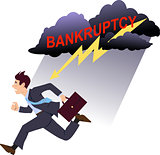 Businessman running from bankruptcy