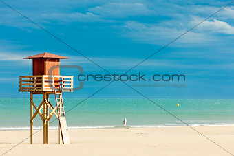 lifeguard cabin on the beach in Narbonne Plage, Languedoc-Roussi