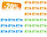percentage discount labels, 3 colour sets