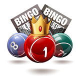 Bingo or lottery balls and cards with crown.