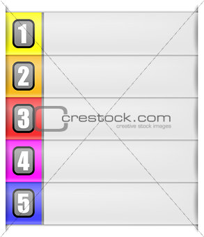 five options vertical template in rainbow colour