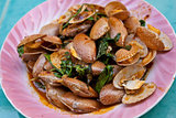 Clams fried with roasted chili paste