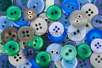 Green and Blue Sewing Buttons