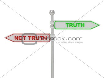 "Signs with red ""NOT TRUTH"" and green ""TRUTH"""