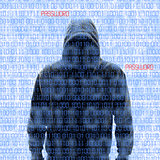 Silhouette of a hacker isloated on white