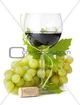 Red wine glass and grapes