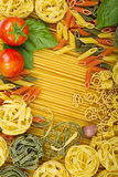 Various Italian pasta background