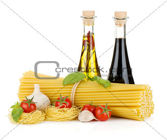 Pasta, tomatoes, basil, olive oil, vinegar and garlic