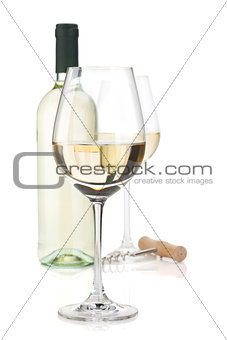 White wine glasses, bottle and corkscrew