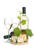 White wine, cheese and grape