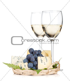 Cheese, grape and two white wine glasses