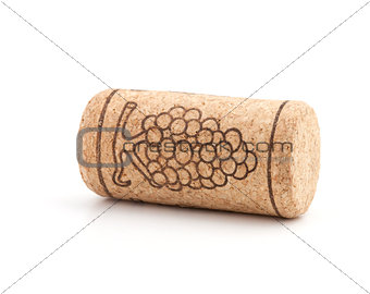 Wine cork with grape illustration