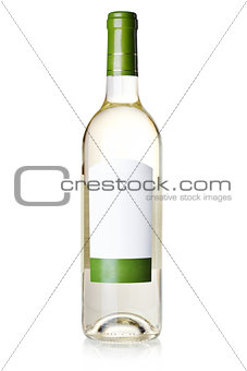 Wine collection - White wine in bottle with blank label