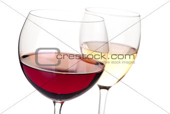 Wine collection - Red and white wine in glasses