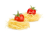 Cherry tomatoes on pasta