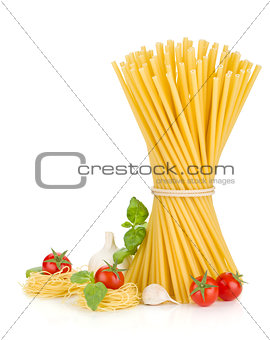 Pasta, tomatoes, basil and garlic