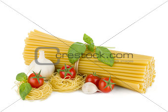 Italian pasta, tomatoes, basil and garlic
