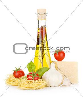 Pasta, tomatoes, basil, olive oil, garlic and parmesan cheese