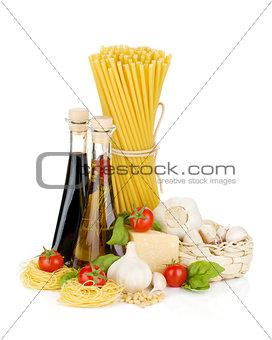 Pasta, tomatoes, basil, olive oil, vinegar, garlic and parmesan