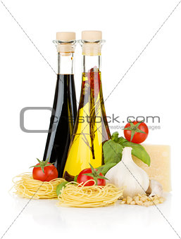 Pasta, tomatoes, basil, olive oil, vinegar, garlic and parmesan