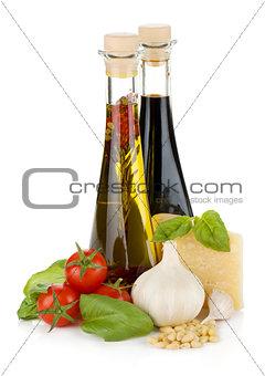 Tomatoes, basil, olive oil, vinegar, garlic and parmesan cheese