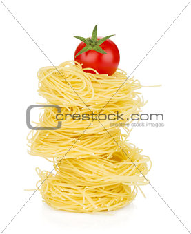 Cherry tomato on pasta
