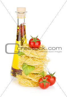 Pasta, tomatoes, basil and olive oil