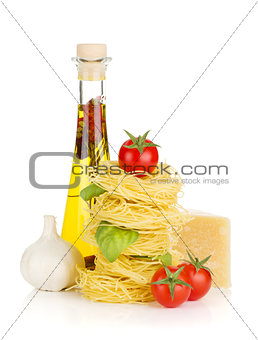 Pasta, tomatoes, basil, olive oil, garlic and parmesan cheese