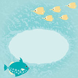 Blue marine card with fish