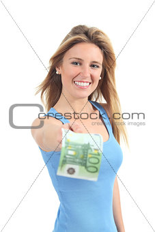Woman paying with a one hundred euros banknote