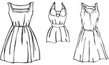 Vector Illustration Set of 3 Isolated Women's Stylish Fashion Summer Dresses