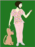 veterinarian technician woman with dog