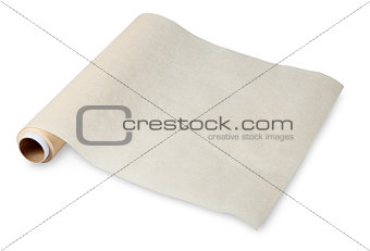Food in a twisted roll of parchment on the sleeve, baking paper.