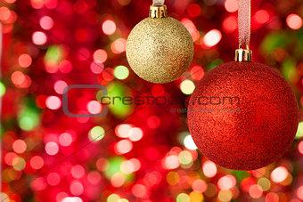 Christmas balls on illuminated background